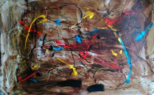 abstrait XIII acrylique sur papier 71-110 cm